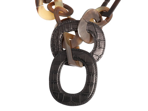 Hermès Horn and Shiny Black Alligator Isidore Necklace