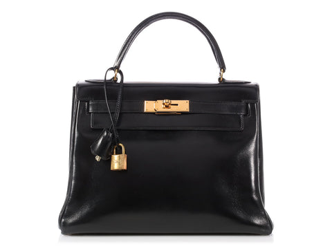 Hermès Vintage Black Box Leather Kelly 28