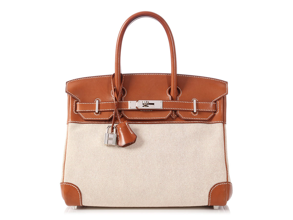 Hermès Barenia Natural and Toile Birkin 30
