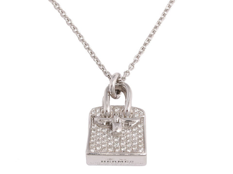 Hermès Diamond 18K Gold Birkin Amulette Pendant Necklace