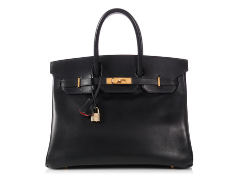 Hermès Bicolor Black Box Calfskin and Rouge Vif Birkin 35