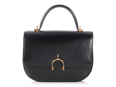 Hermès Vintage Black Box Leather Stirrup Shoulder Bag