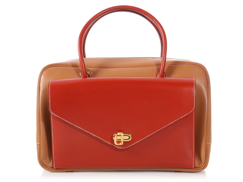 Hermès Bicolor Gold and Red Gulliver Lorraine Bag