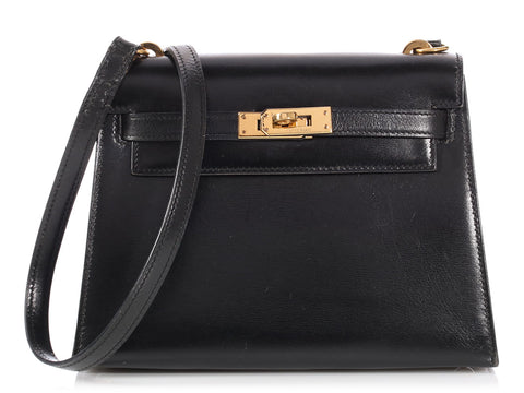 Hermès Vintage Black Box Leather Mini Kelly Shoulder Bag 20