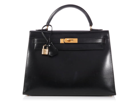 Hermès Vintage Black Box Leather Kelly 32