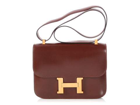Hermès Vintage Chocolate Brown Box Leather Constance 23