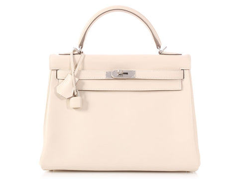 be35795ef1b2 Hermès Special Order Bicolor Craie Swift and Pink Calfskin Kelly 32