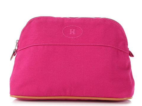 Hermès Pink Canvas Bolide Cosmetic Case