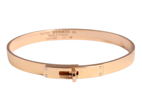 Hermès 18K Rose Gold and Diamond Kelly Bracelet