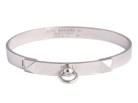 Hermès 18K White Gold Collier de Chien CDC Bracelet
