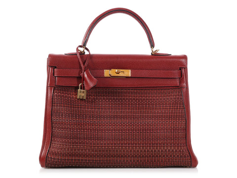 Hermès Rouge H Buffalo Leather and Crinoline Kelly 35