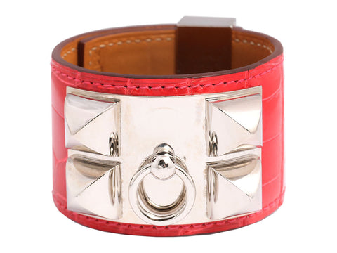 Hermès Bougainvillea Shiny Alligator Collier de Chien CDC Bracelet