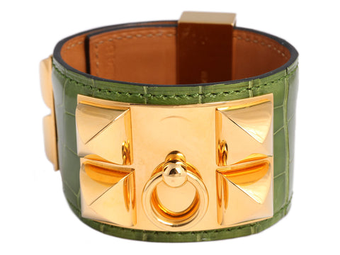 Hermès Pelouse Shiny Alligator Collier de Chien CDC Bracelet