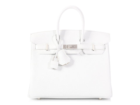 Hermès Special Order Bicolor White Clémence and Trench Birkin 25