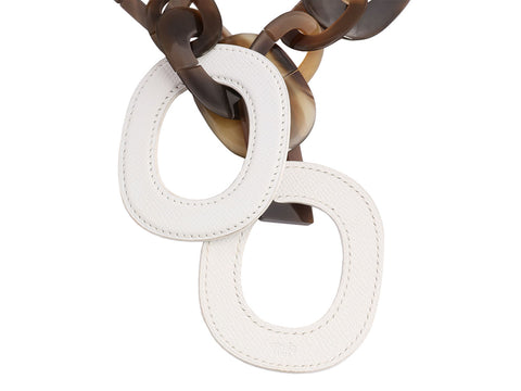 Hermès White Epsom and Horn Isidore Necklace