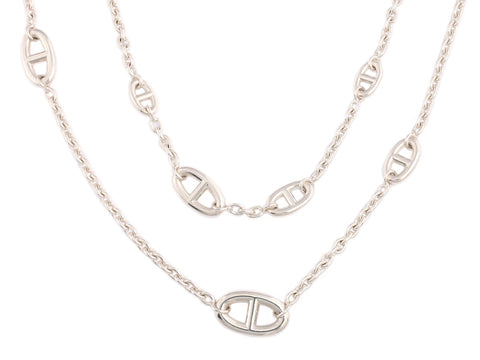 Hermès Sterling Silver Farandole Necklace 160cm