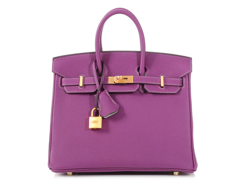 Hermès Special Order Anemone and Gris Mouette Birkin Verso 25