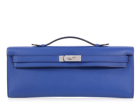 Hermès Bleu Electrique Swift Kelly Cut
