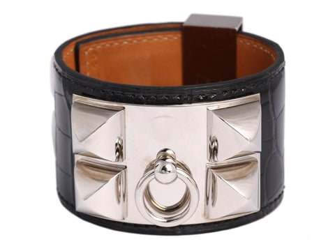 Hermès Black Shiny Alligator Collier de Chien CDC Bracelet