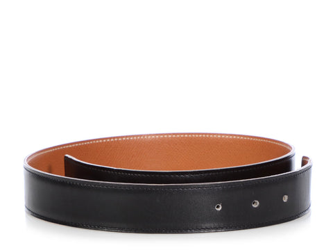Hermès Vintage Black and Gold Reversible Belt Strap 32mm