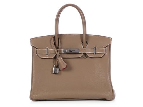 Hermès Special Order Bicolor Etoupe and Rose Shocking Birkin 30