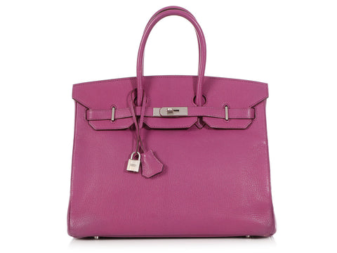 Hermès Special Order Cyclamen Chèvre and Purple Birkin 35