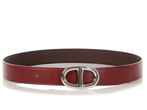 Hermès Rouge H and Chocolate Brown Reversible Belt Kit 32mm