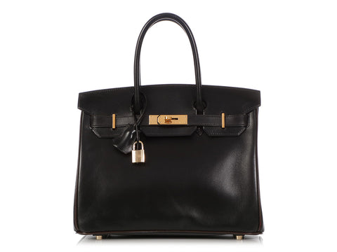 Hermès Bicolor Black Box Calfskin and Brown Leather Birkin 30