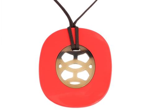 Hermès Coral Lacquered Horn and Natural Horn Lift Pendant Necklace