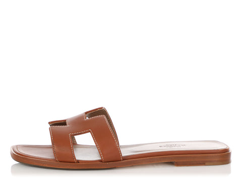 Hermès Gold Box Calfskin Oran Sandals