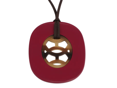 Hermès Raspberry Rouge Lacquered and Natural Horn Lift Pendant Necklace