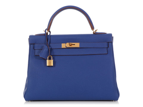 Hermès Bicolor Bleu Electrique Togo and Rouge H Kelly 32