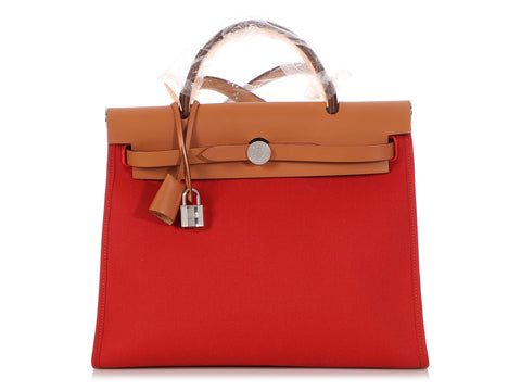 Hermès Rouge Tomate and Vache Hunter Herbag Zip 31