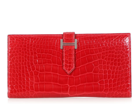Hermès Braise Shiny Alligator Béarn Slim Line Wallet