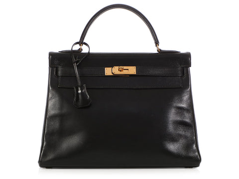 Hermès Vintage Black Box Calfskin Kelly 32