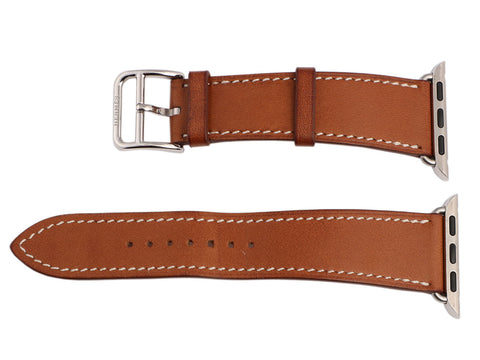 Hermès Fauve Barenia and Stainless Steel Watch Strap 38mm