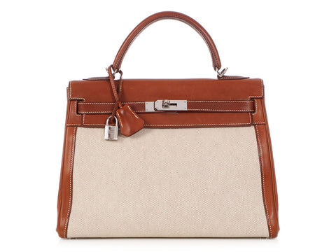 Hermès Natural Barenia and Toile Kelly 32