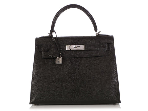 Hermès Black Chèvre Kelly 28
