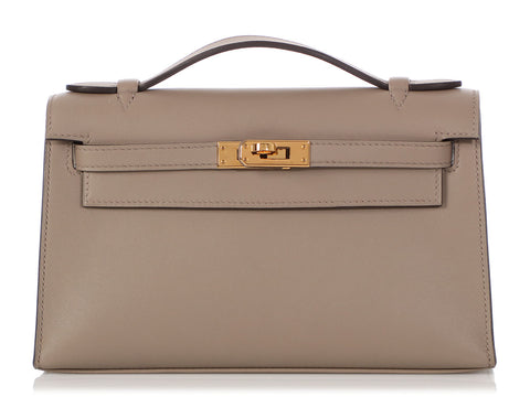 Hermès Gris Asphalte Swift Kelly Pochette