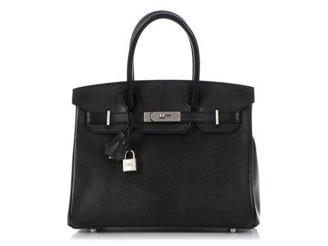 Hermès Special Order Black Chèvre and Turquoise Birkin 30
