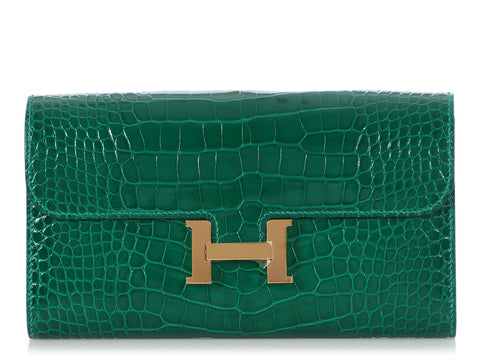 Hermès Long Vert Emerald Shiny Alligator Constance Wallet