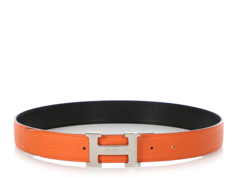 Hermès Black and Orange Reversible Belt Kit 32mm