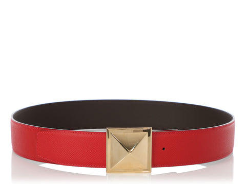 Hermès Rouge Casaque and Brown Reversible Médor Belt Kit 42mm