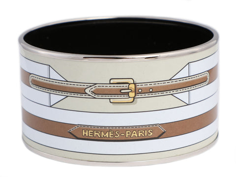 Hermès Extra Wide Enamel Belt Bangle