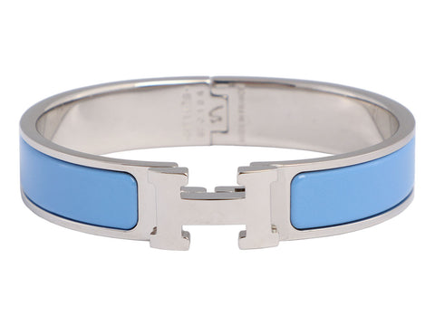 Hermès Narrow Blue Clic H Bracelet PM
