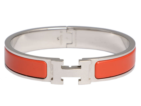 Hermès Narrow Red-Orange Clic-Clac Bracelet PM