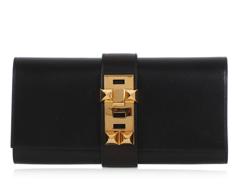 Hermès Large Black Box Médor Clutch 29