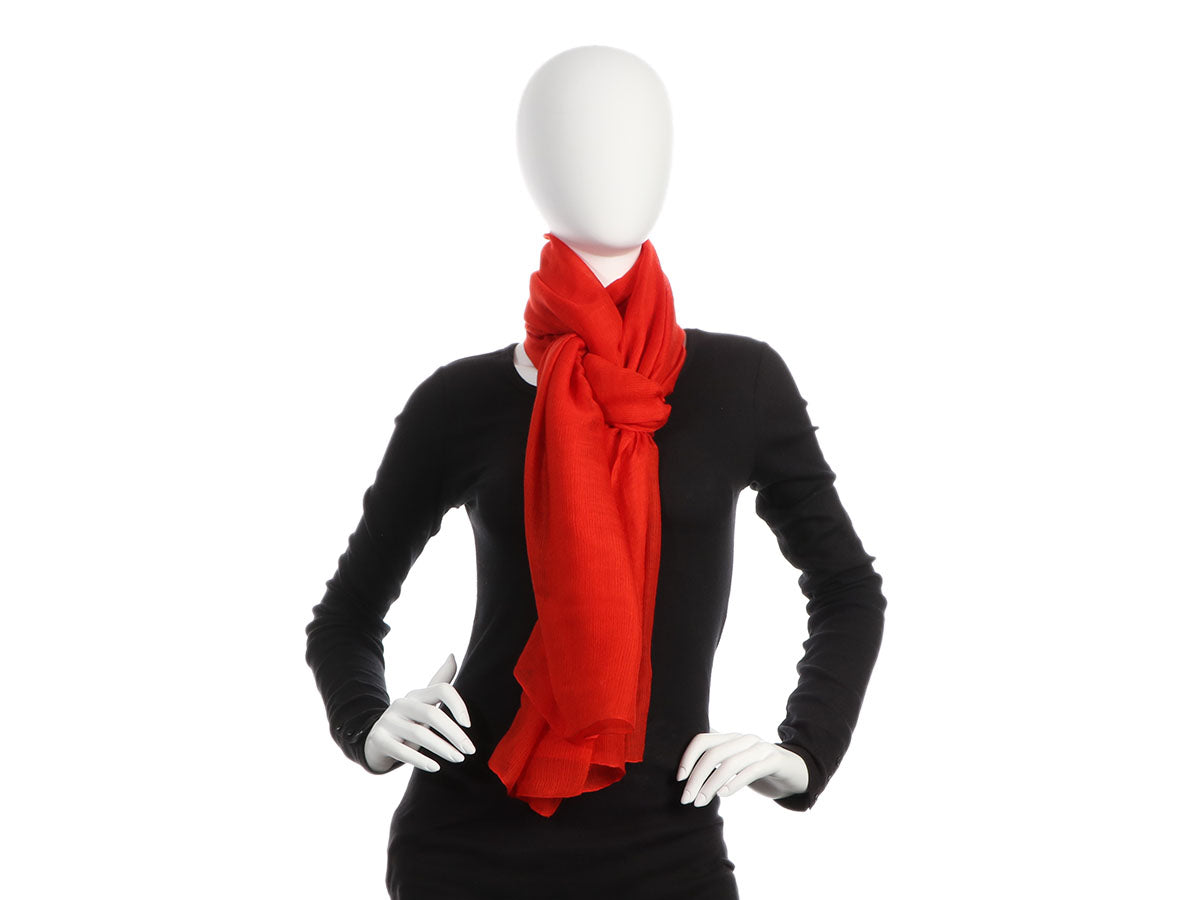 Herm s Red Plume Unie Cashmere and Silk Stole