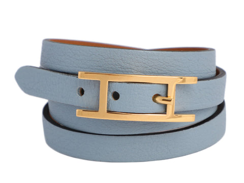 Hermès Small Blue Lin Swift Hapi 4 Bracelet