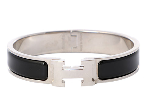 Hermès Narrow Black Clic-Clac Bracelet PM